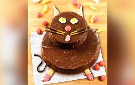 Gâteau au chocolat en forme de chat