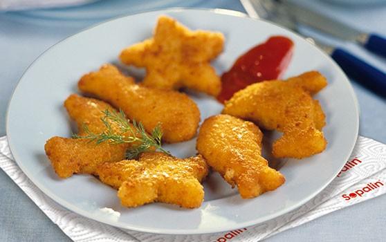 Petits poissons panés rigolos